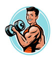 strong athletic man raises heavy dumbbells vector image