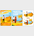 summer leisure posters set hiking surfing vector image
