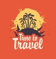 summer travel banner with palm trees and surfers vector image vector image