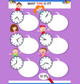 telling time educational task with kid characters vector image
