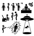 ufo alien invaders stick figure pictograph icon vector image