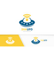 ufo and wifi logo combination spaceship vector image vector image