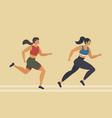 woman runs marathon athlete performs a race vector image