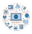 work online and teamwork in internet vector image vector image
