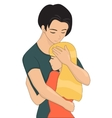 Young couple is hugging vector image