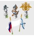 Russian and naval flag emblem symbols monument vector image