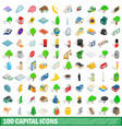 100 capital icons set isometric 3d style vector image vector image