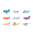 airplane icon set cartoon style vector image