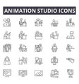 animation studio line icons signs set vector image vector image