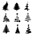 black christmas tree icons vector image