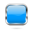 blue glass button 3d shiny square icon vector image vector image