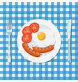 breakfast plate with fried egg and sausage vector image