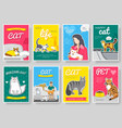 breed cats thin line brochure cards set animal vector image