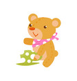 brown teddy bear sitting with cup tea time vector image