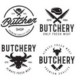 butcher shop labels badges emblems set butchery vector image vector image