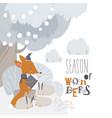 cartoon little fox reading book for cute rabbits vector image vector image