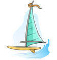 Cartoon windsurfing board with blue sail and flag