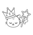 cat with crown and wand black and white vector image vector image
