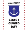 Coast guard day greeting card vector image vector image