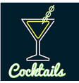 cocktail glass of cocktail neon background vector image