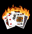 colorful drawing burning playing cards vector image vector image