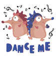 dance hedgehog valentine day cartoon animal set vector image vector image