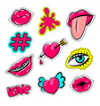 fashion 90 comic text set women patch pins vector image