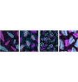 fern pattern futuristic seamless set violet blue vector image vector image
