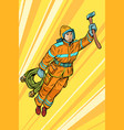 fireman firefighter flying superhero help vector image vector image