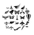 fowl icons set simple style vector image vector image