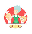 Grandmother with grandchildren bakes italian pizza