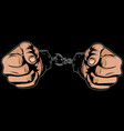 hands free from handcuffs vector image vector image
