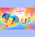 hello summer love poster of coast and people vector image