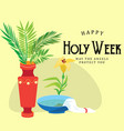 holy week and palm sunday background green branch vector image vector image