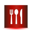 Icon fork spoon knife on a red background vector image vector image