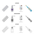 isolated object of pharmacy and hospital logo set vector image vector image