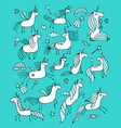magic unicorns collection sketch for your design vector image vector image