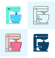 mixer icon set in flat and line styles vector image