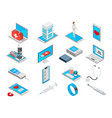 mobile medicine icons set vector image vector image