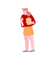 office woman carry document files and pencil in vector image