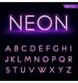Realistic neon alphabet Purple blue Glowing font vector image