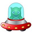 red ufo with green alien on white background vector image