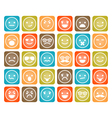 set color smiley icons isolated vector image vector image