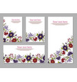 set of cards posters flyers with floral ornaments vector image vector image