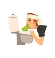 sick man vomiting into the toilet bowl vector image