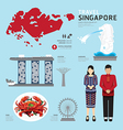 singapore Flat Icons Design Travel Concept vector image