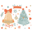 sketchy elements set with a christmas tree vector image