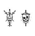 skull with crossed swords element halloween vector image vector image