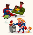 superdaddies doing house work flat set vector image