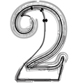 Technical typography Number 2 vector image vector image